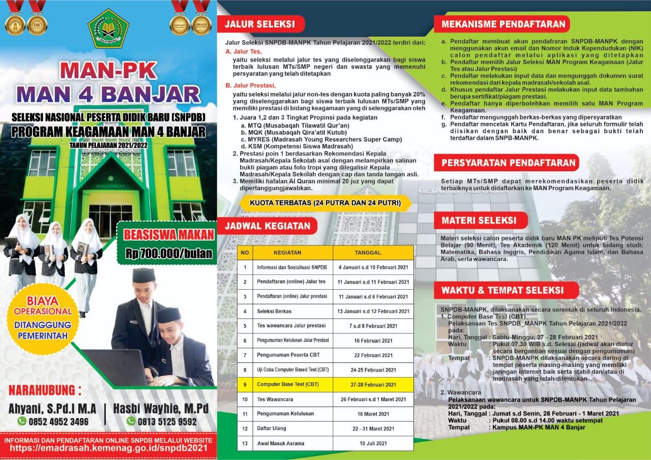 Pendaftaran SNPDB MAN-PK MAN 4 BANJAR Program Keagamaan